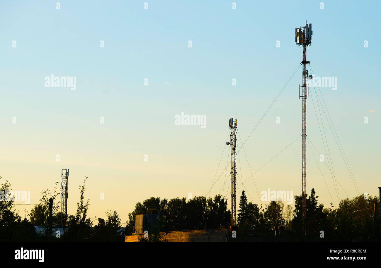 Antennas of cellular communication against the background Stock Photo