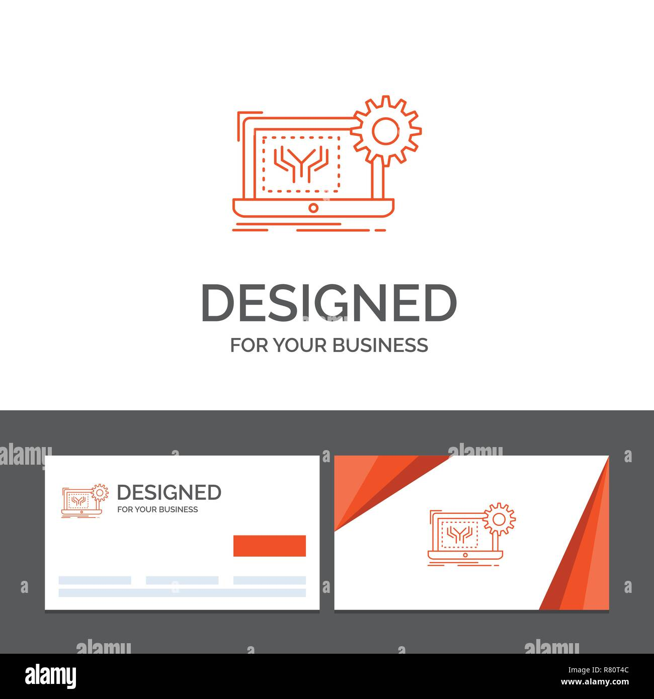 Business logo template for Blueprint, circuit, electronics, engineering, hardware. Orange Visiting Cards with Brand logo template - Stock Image