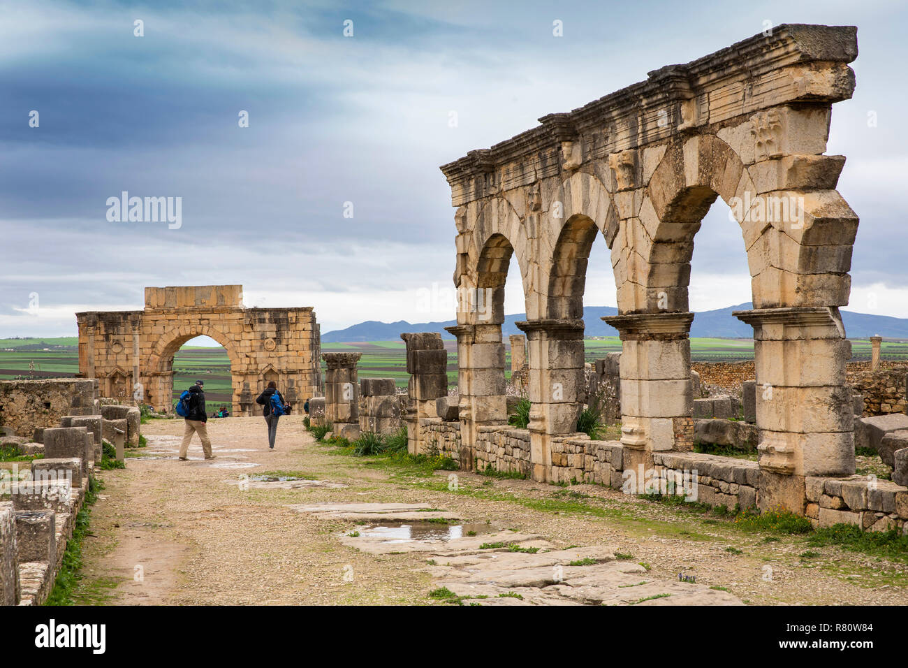 Morocco, Meknes, Volubilis Roman site, three arches on Decumanus Maximus, to Triumphal Arch of Caracalla Stock Photo