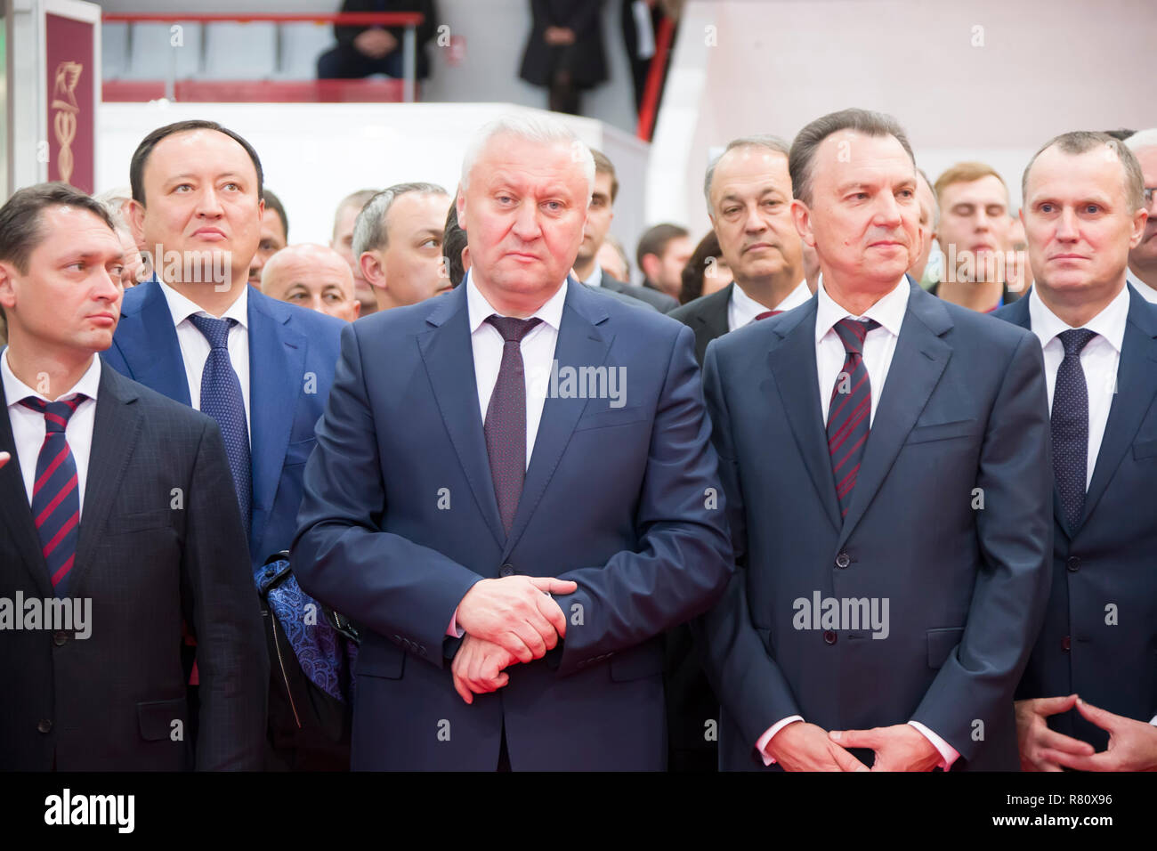 Belarus is the city of Gomel on October 25, 2018. Exhibition of products of national economy.Older men in suits. Politicians.Chiefs - Stock Image