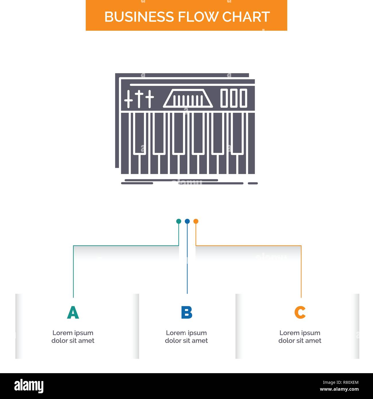 controller, keyboard, keys, midi, sound business flow chart design with 3  steps  glyph icon for presentation background template place for text