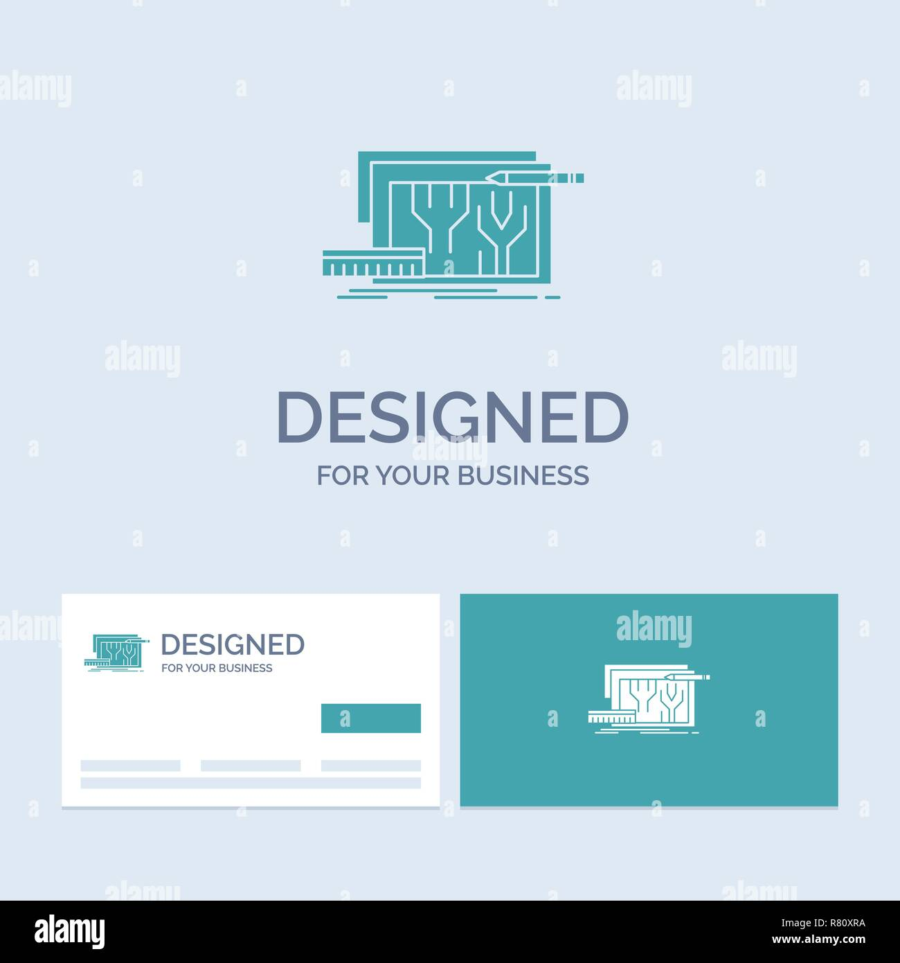 Architecture, blueprint, circuit, design, engineering Business Logo Glyph Icon Symbol for your business. Turquoise Business Cards with Brand logo temp - Stock Image