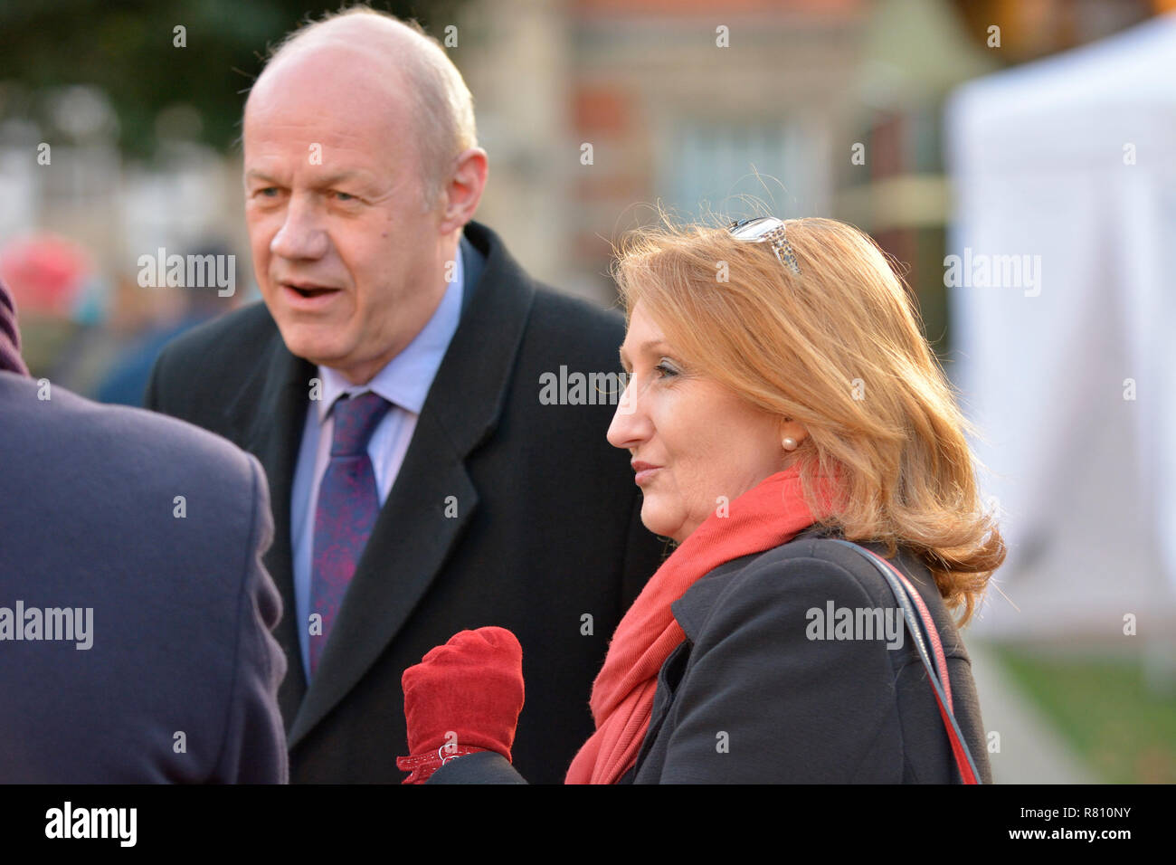 Damian Green MP (Con: Ashford) with Suzanne Evans (former deputy chair of UKIP) on College Green, Westminster, December 2018 - Stock Image