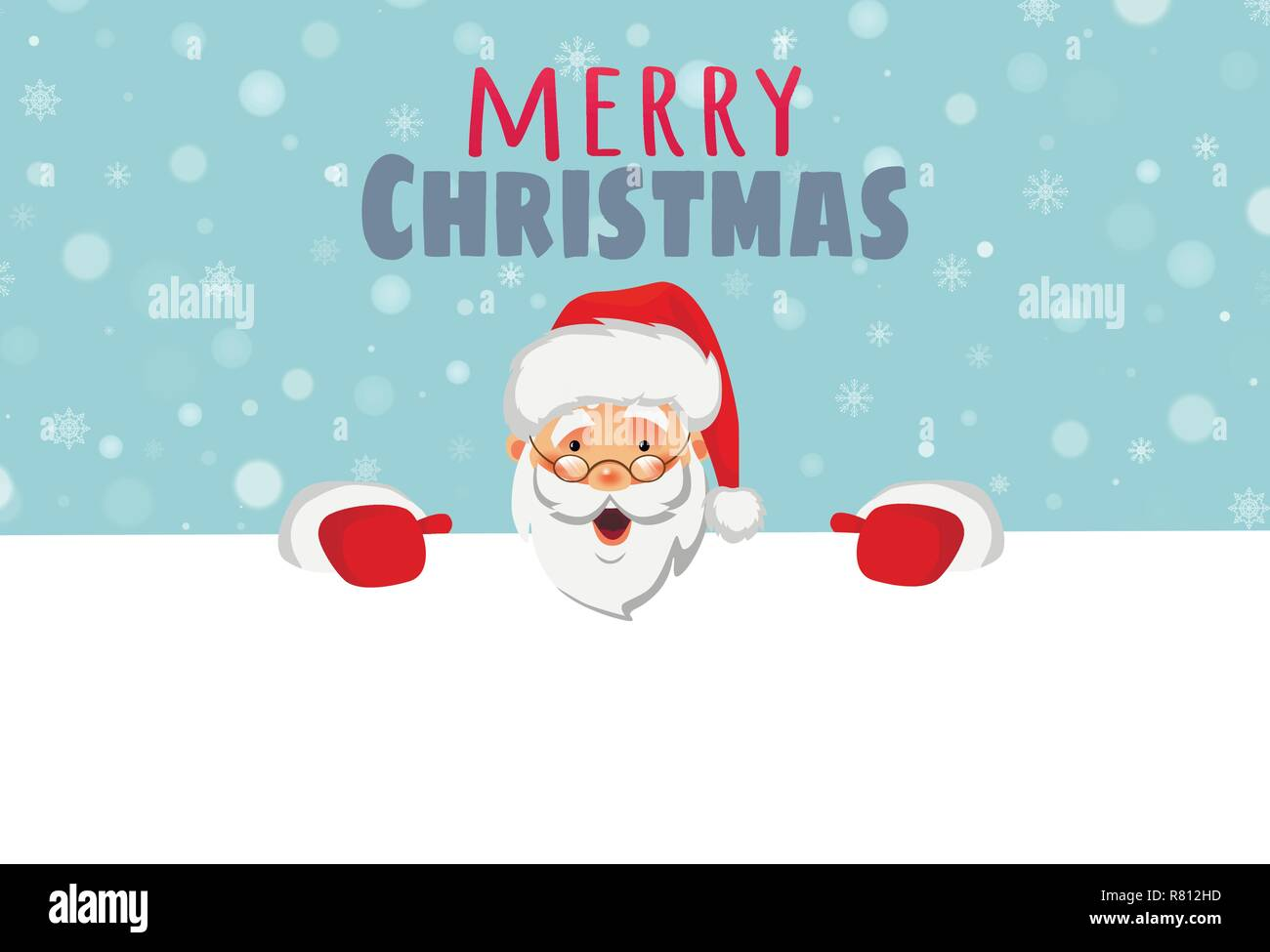 Santa Claus holding border. Christmas blank advertising banner. Merry christmas text. Face of Santa Claus in red hat vector illustration - Stock Vector