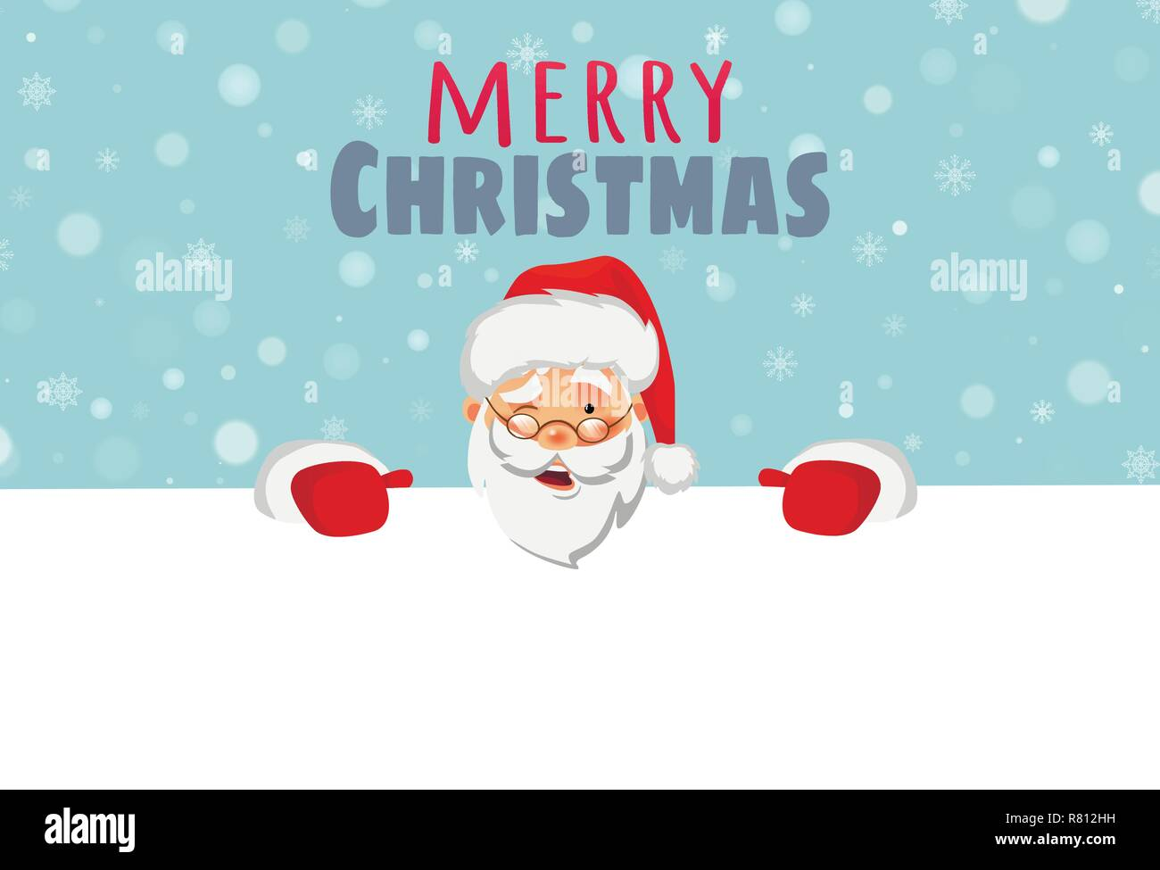 Merry Christmas Text.Santa Claus Holding Border Christmas Blank Advertising