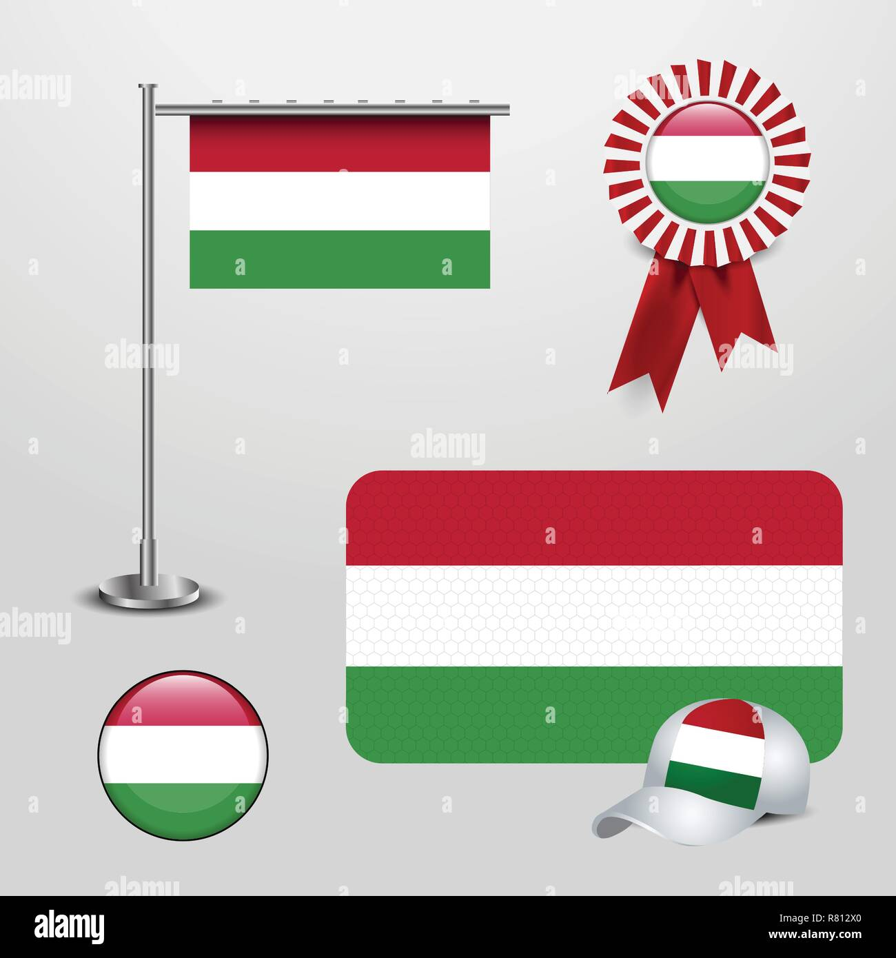 Hungary Country Flag haning on pole, Ribbon Badge Banner, sports Hat and Round Button - Stock Vector