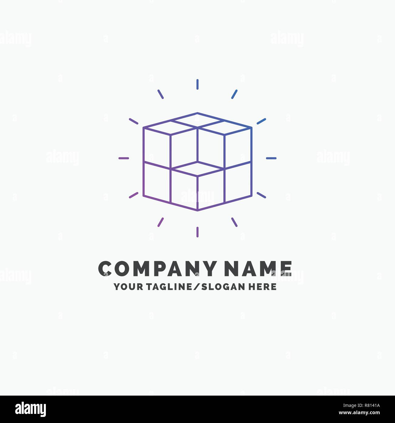 Box Labyrinth Puzzle Solution Cube Purple Business Logo Template Diagram Place For Tagline