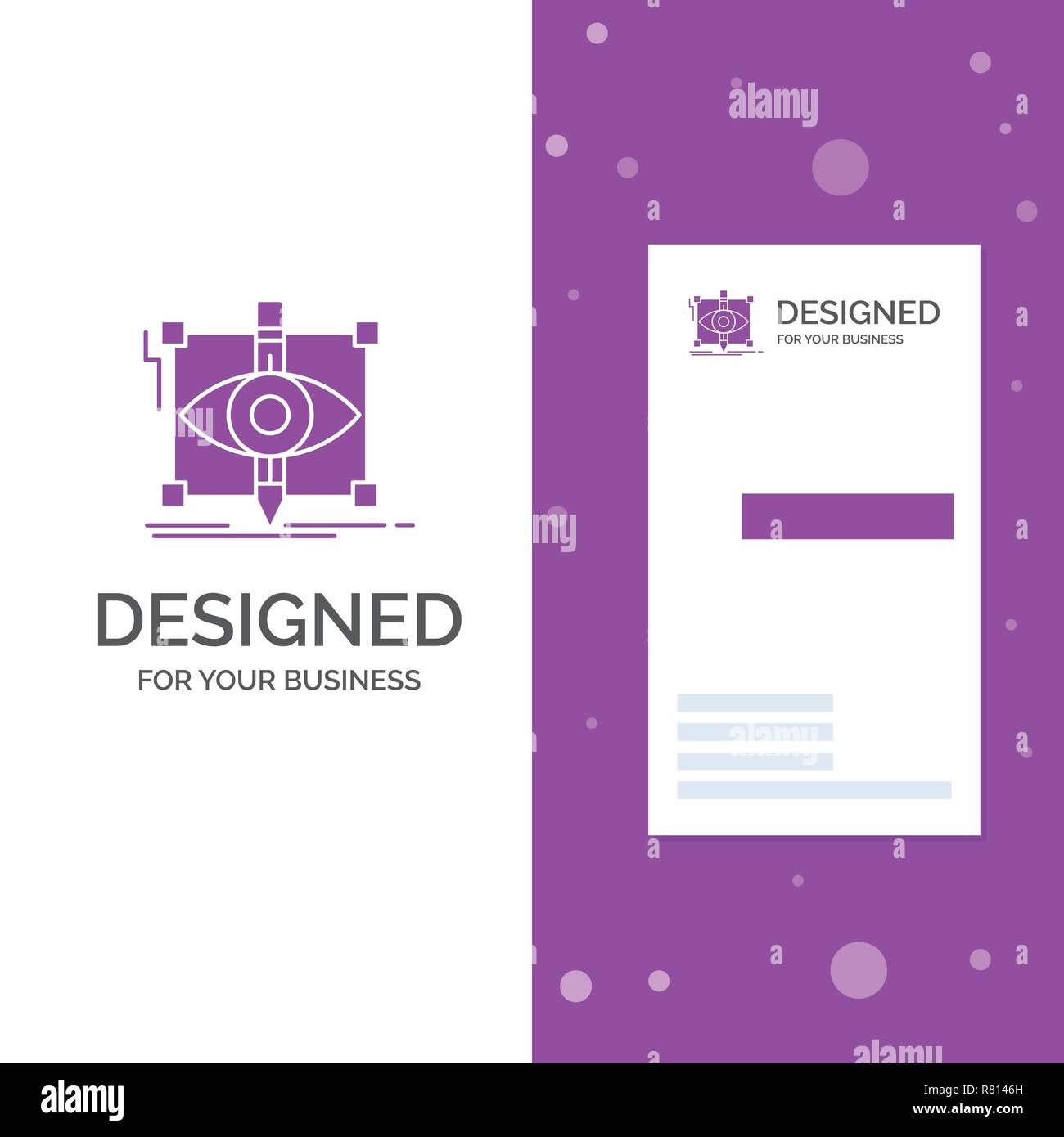 Business Logo for design, draft, sketch, sketching, visual. Vertical Purple Business / Visiting Card template. Creative background vector illustration - Stock Image