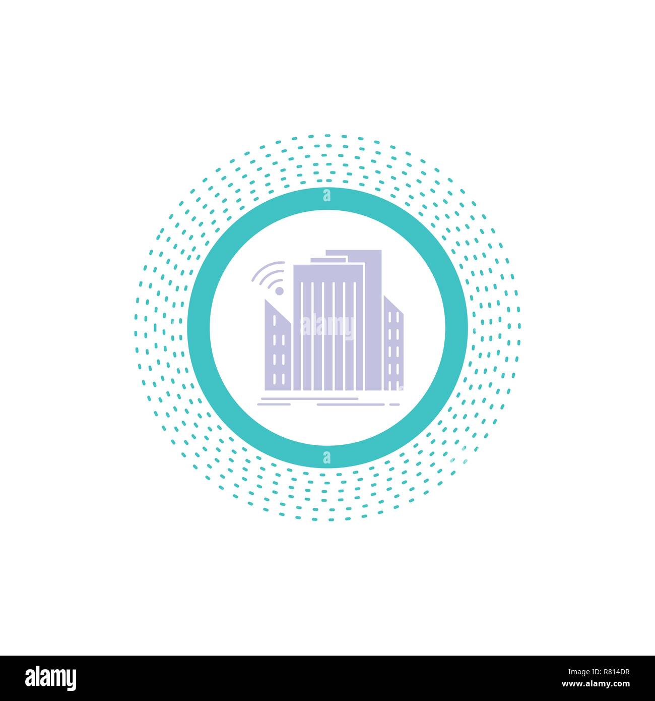 Buildings, city, sensor, smart, urban Glyph Icon. Vector isolated illustration - Stock Vector