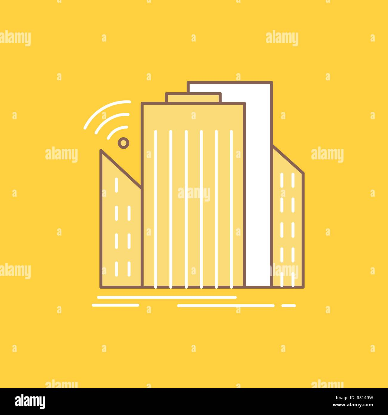 Buildings, city, sensor, smart, urban Flat Line Filled Icon. Beautiful Logo button over yellow background for UI and UX, website or mobile application - Stock Vector