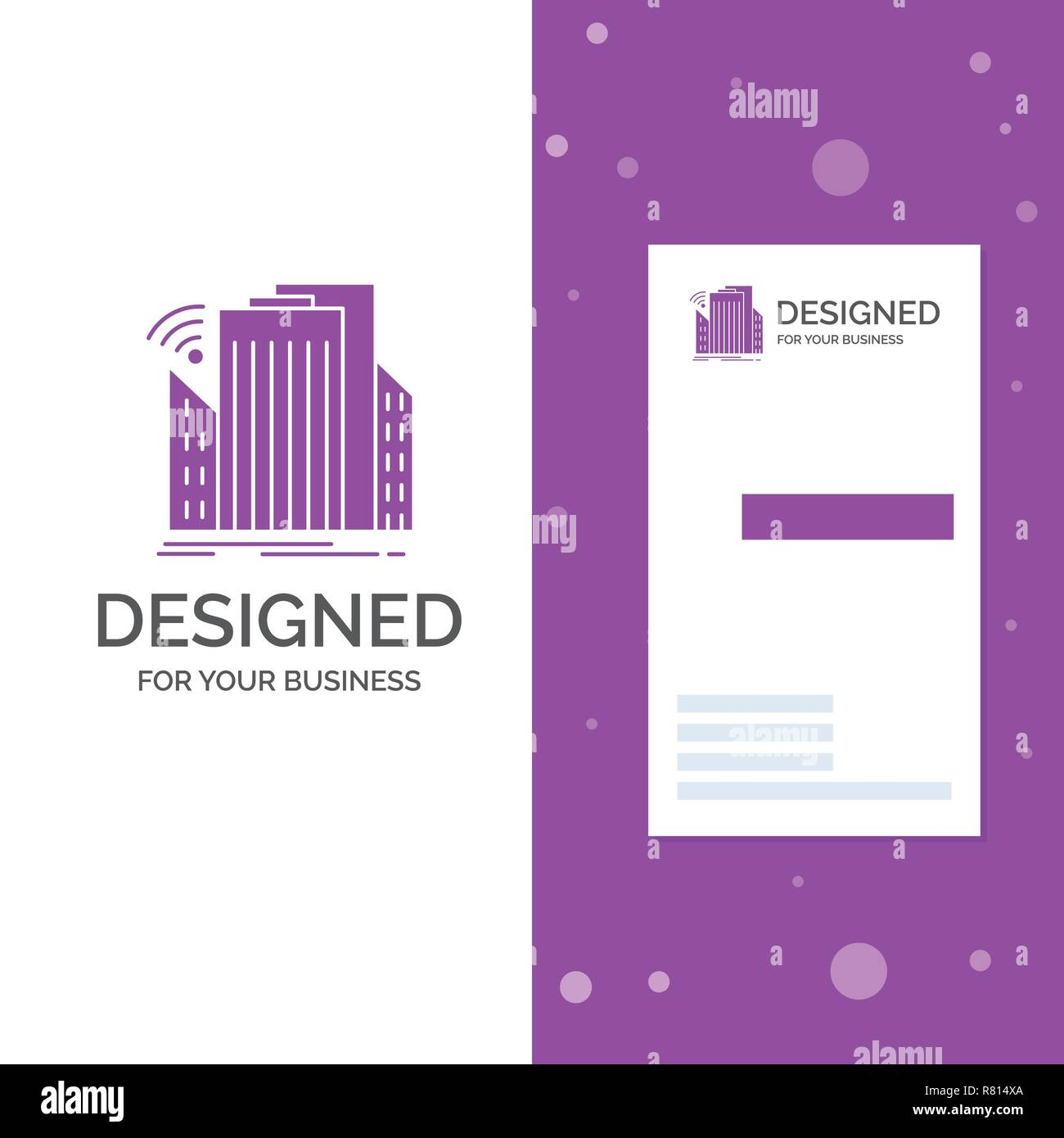 Business Logo for Buildings, city, sensor, smart, urban. Vertical Purple Business / Visiting Card template. Creative background vector illustration - Stock Vector