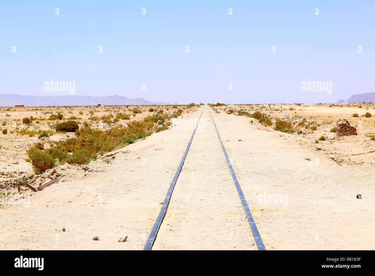 Uyuni, Bolivia. Old railway. train cemetery on Bolivian altiplano. Stock Photo
