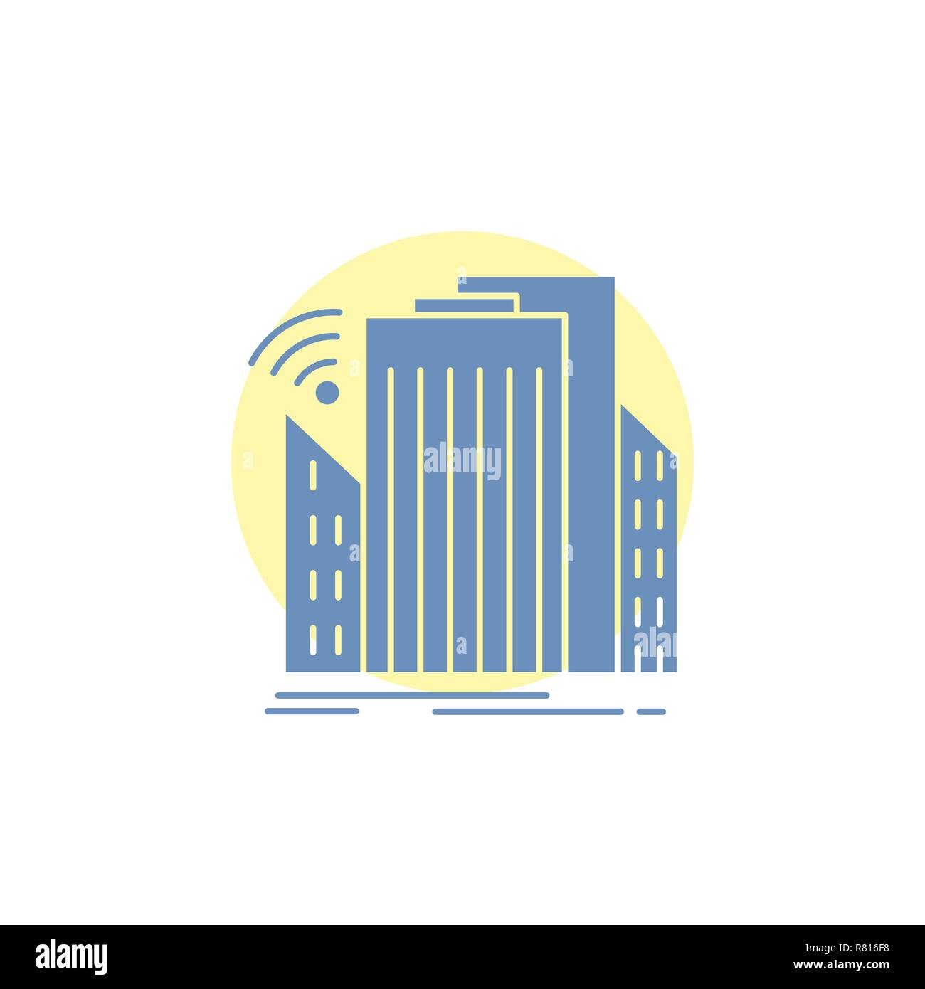 Buildings, city, sensor, smart, urban Glyph Icon. - Stock Vector