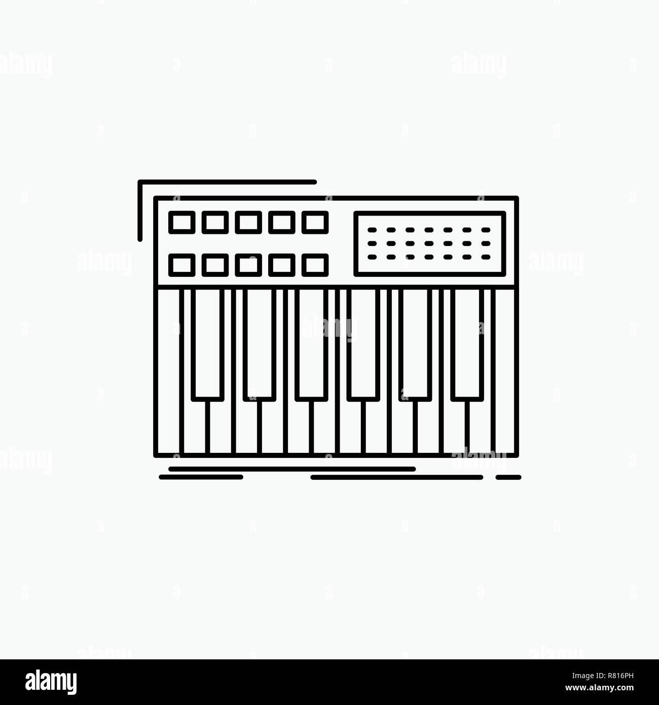 synth, keyboard, midi, synthesiser, synthesizer Line Icon. Vector isolated illustration - Stock Image