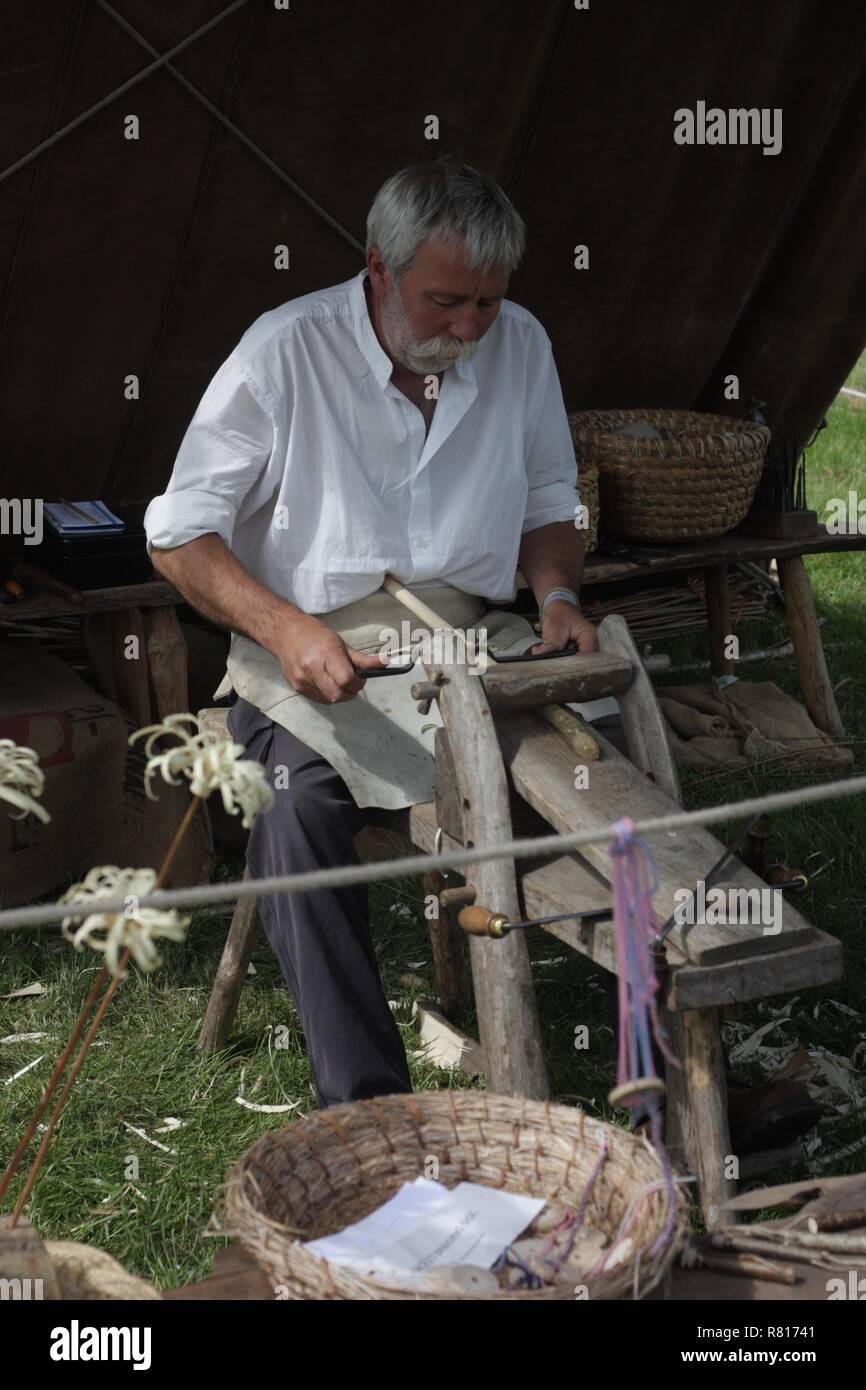 Traditional woodworker at a vintage festival in Wiltshire - Stock Image