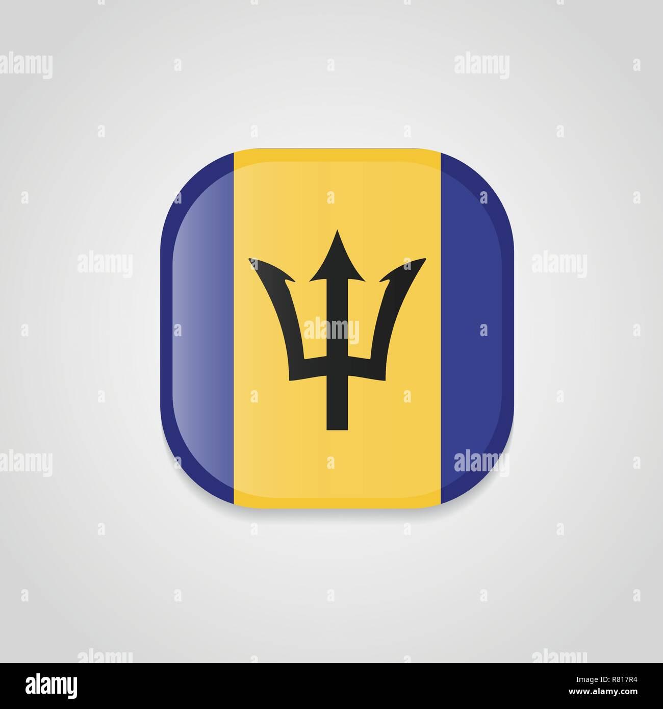 Barbados Flag Design Round Button Stock Vector