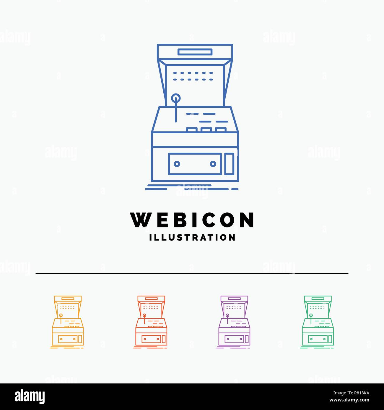 Arcade Console Game Machine Play 5 Color Line Web Icon Template Isolated On White Vector Illustration