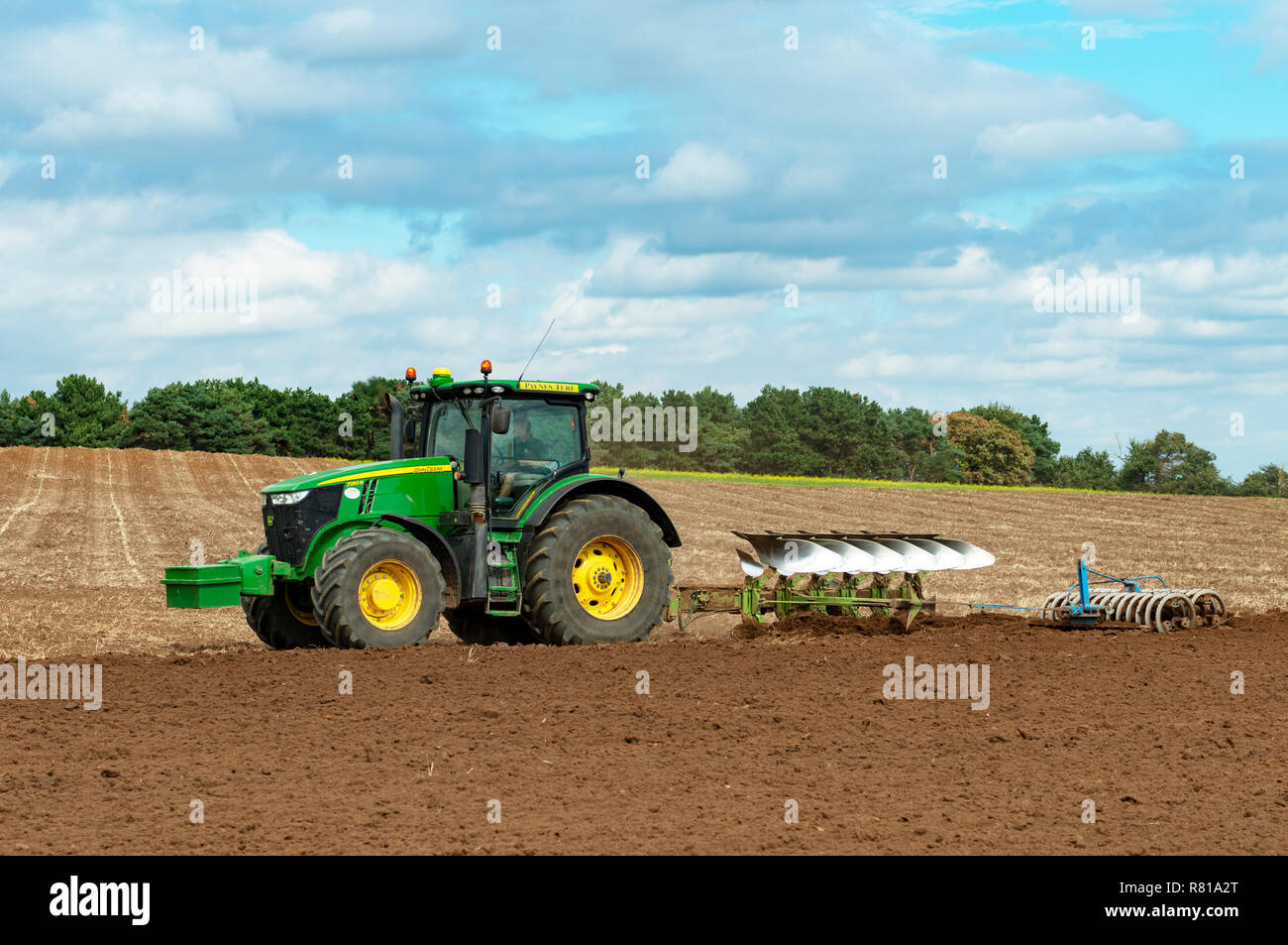 John Deere 7250r Tractor With Plough And Press Bawdsey Suffolk
