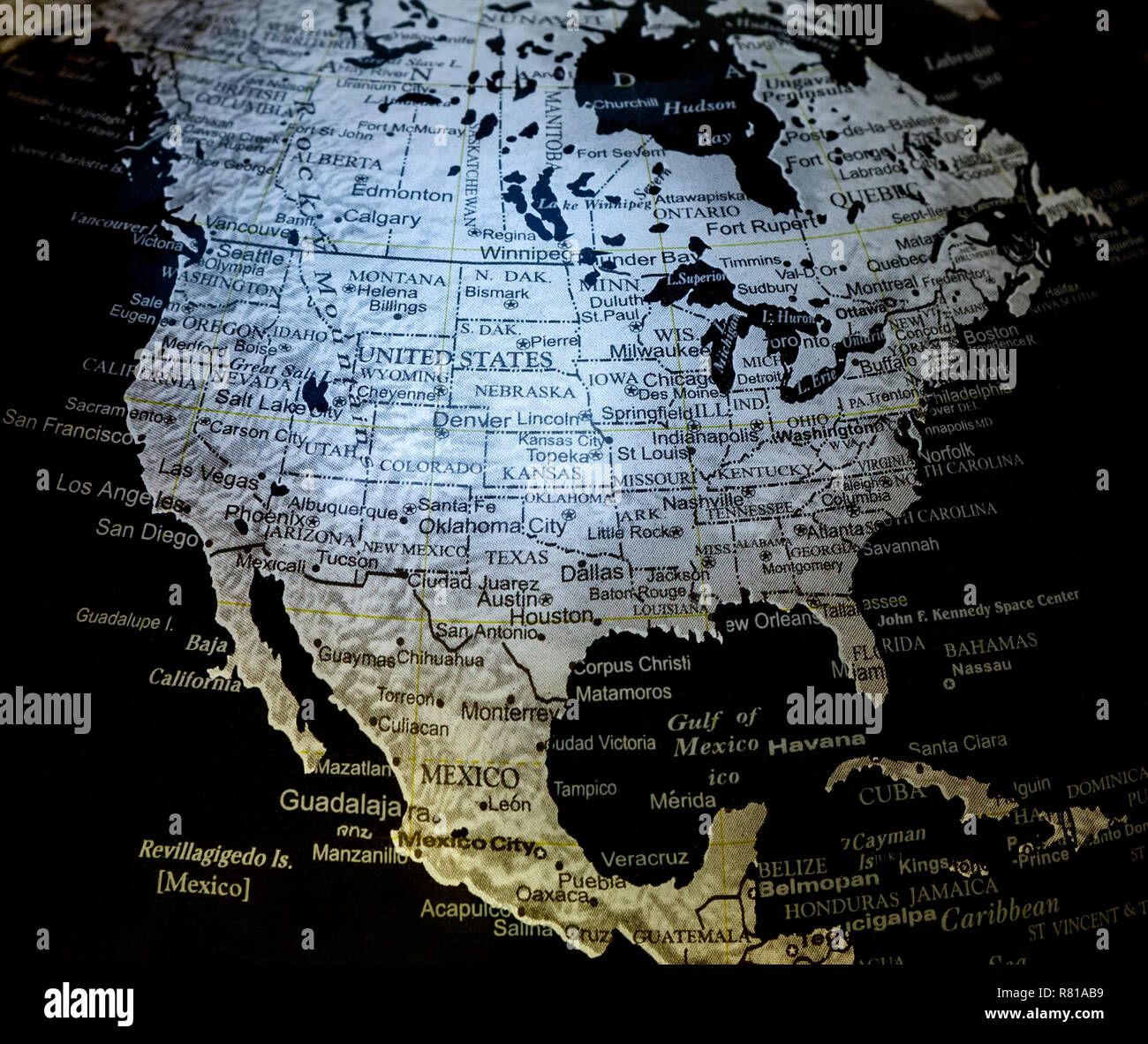 Map Of The World Globe View.Close Up View Of Silver On Black Background World Globe Map Showing