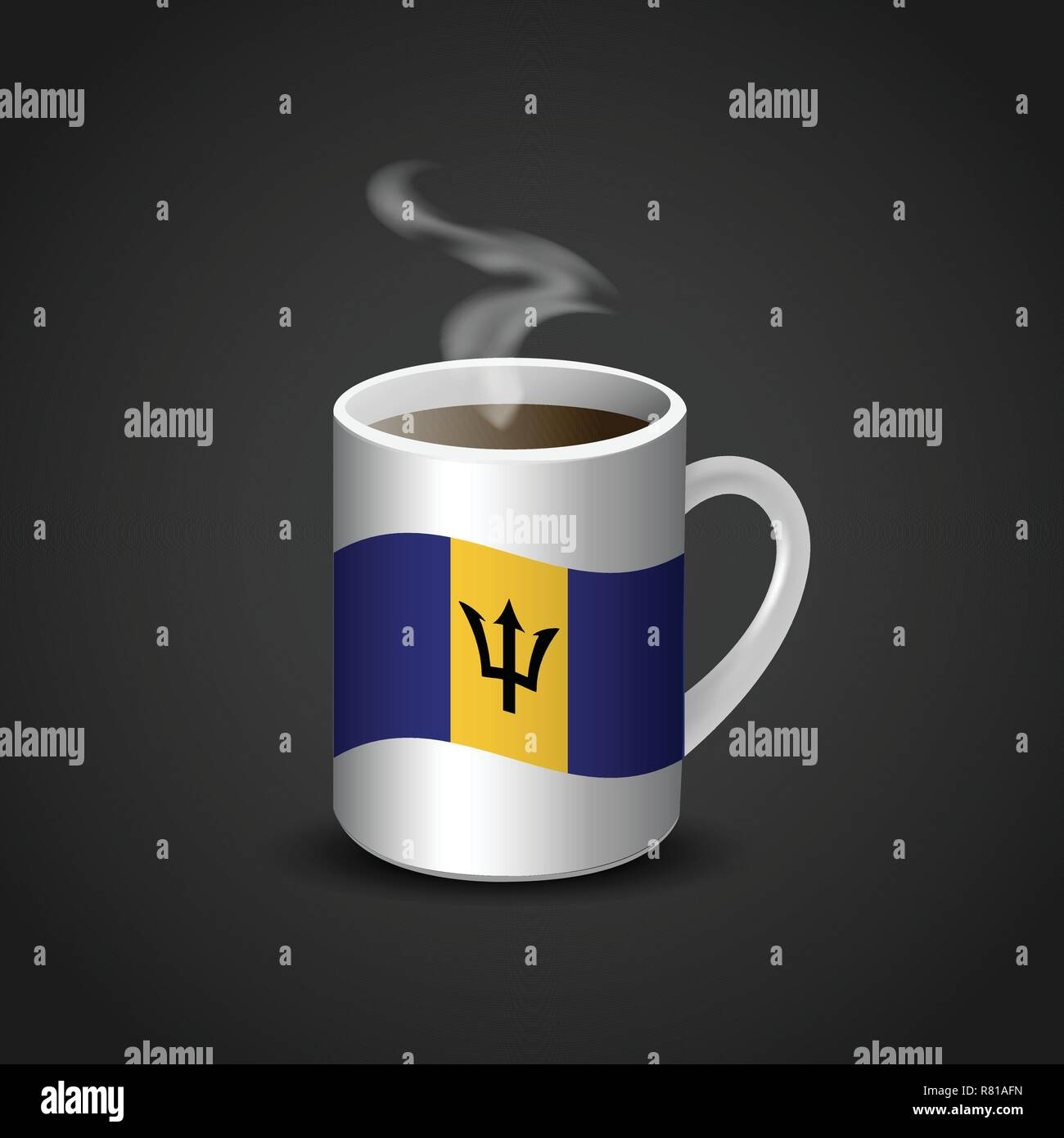 Barbados Flag Printed on Hot Coffee Cup - Stock Vector