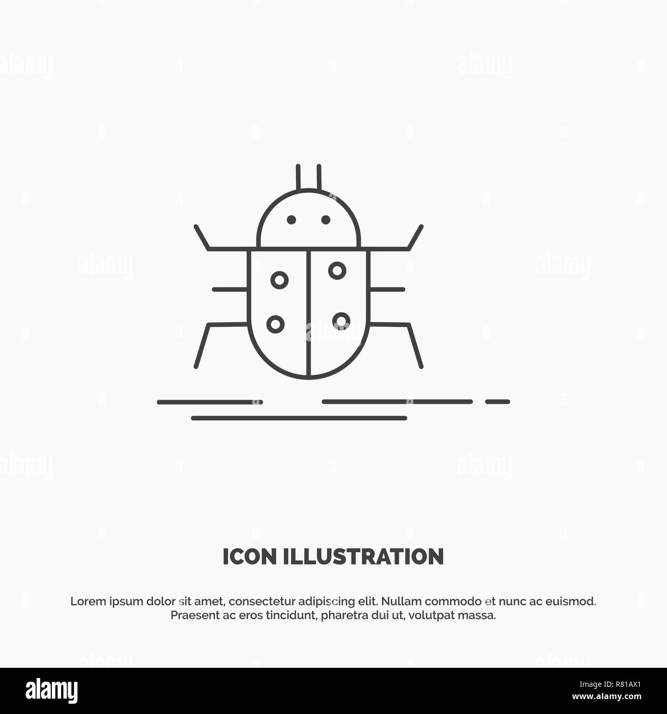 Bug, bugs, insect, testing, virus Icon  Line vector gray
