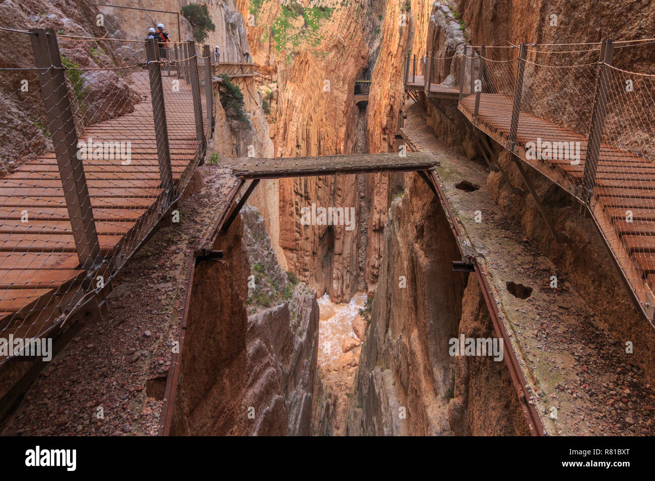 Caminito del rey, old and new way with canyon in background - Stock Image