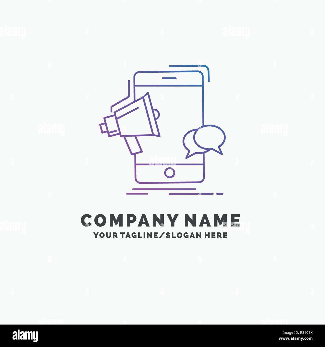 bullhorn, marketing, mobile, megaphone, promotion Purple Business Logo Template. Place for Tagline - Stock Vector