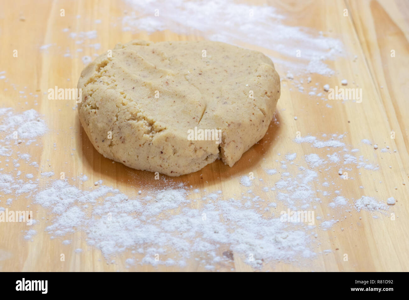Knead dough with hands Stock Photo
