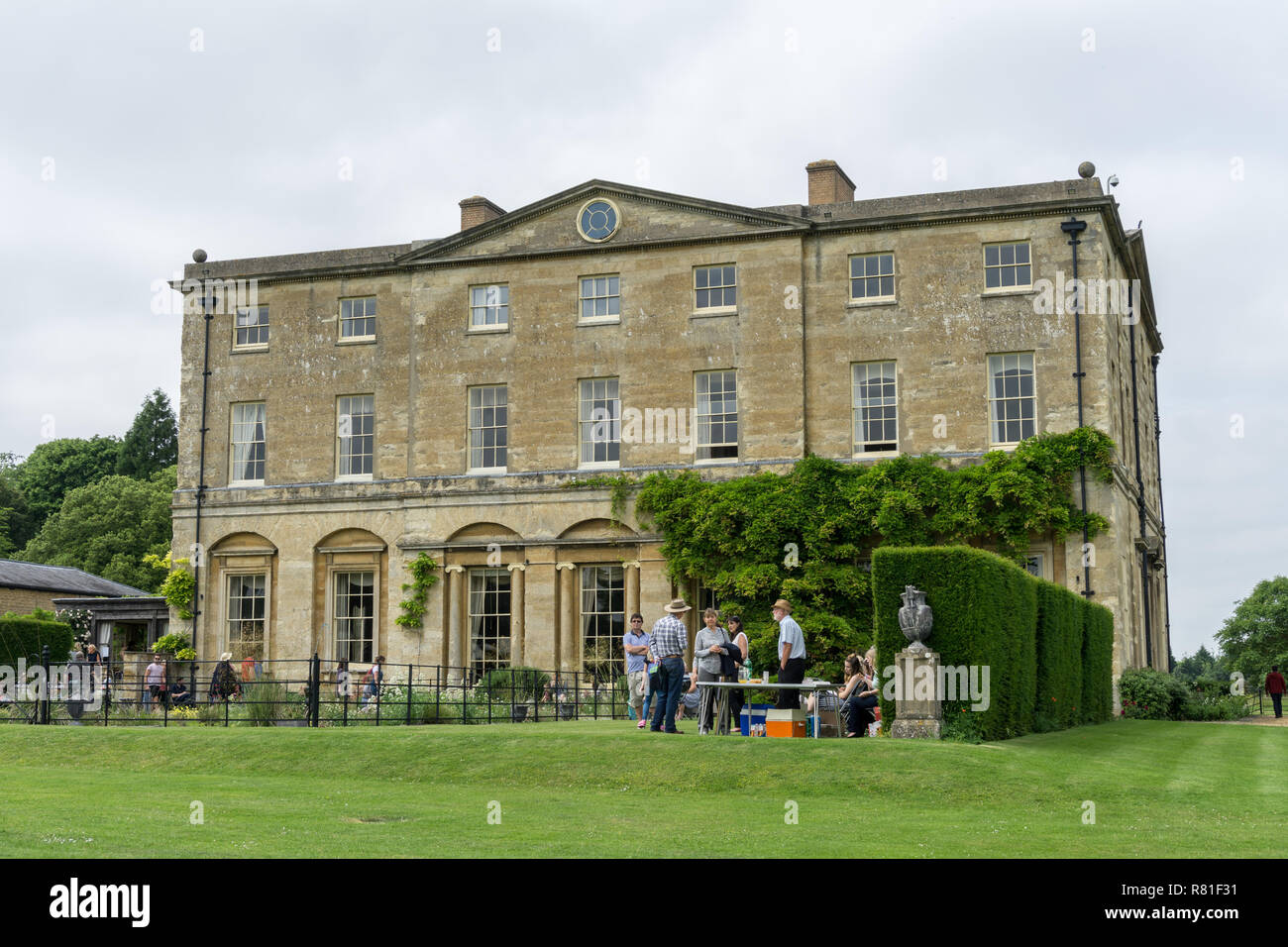 Courteenhall Hall, a late 18th century mansion, built for the Wake family by Samuel Saxon; Courteenhall, Northamptonshire, UK - Stock Image