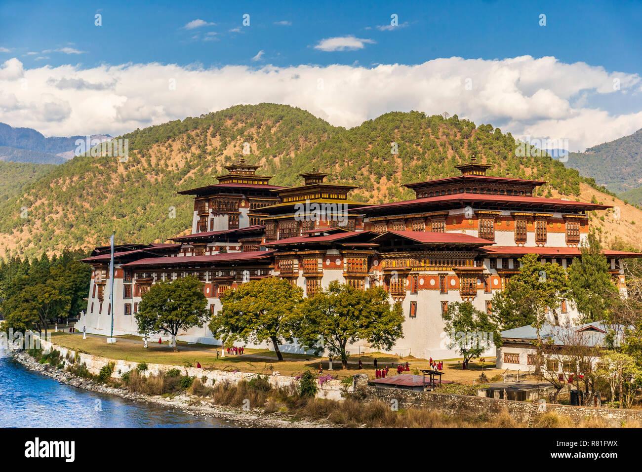 Punakha Dzong Monastery, Bhutan Stock Photo