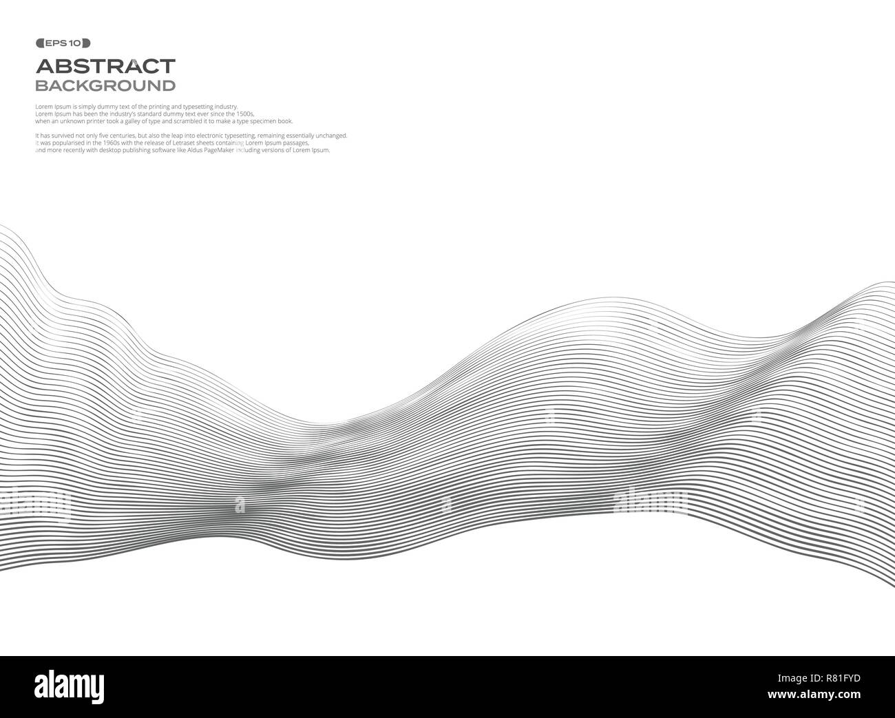 Abstract of wavy element for design. Wave line pattern with lines created using blend tool. Vector illustration eps10. - Stock Image