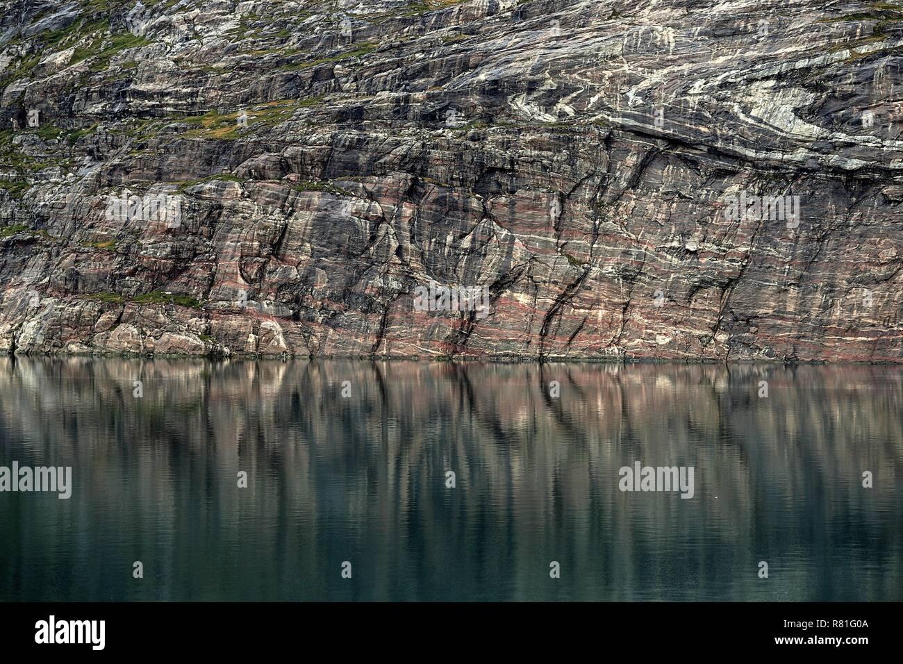 Grönland Christian Sund: Felswände wie gemalt. - Stock Image
