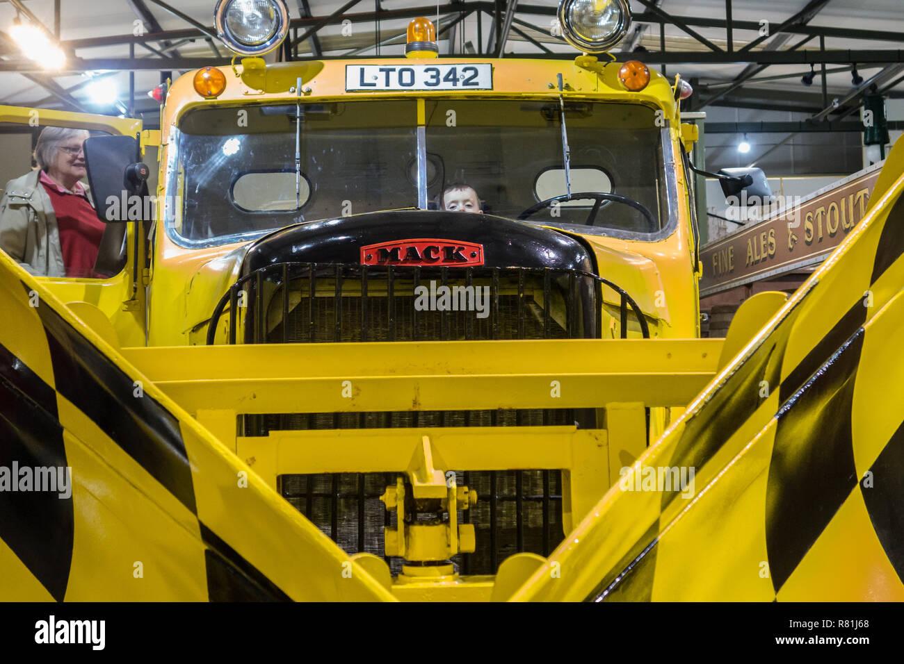 Mack Snowplough at Grampian transport Museum - Stock Image