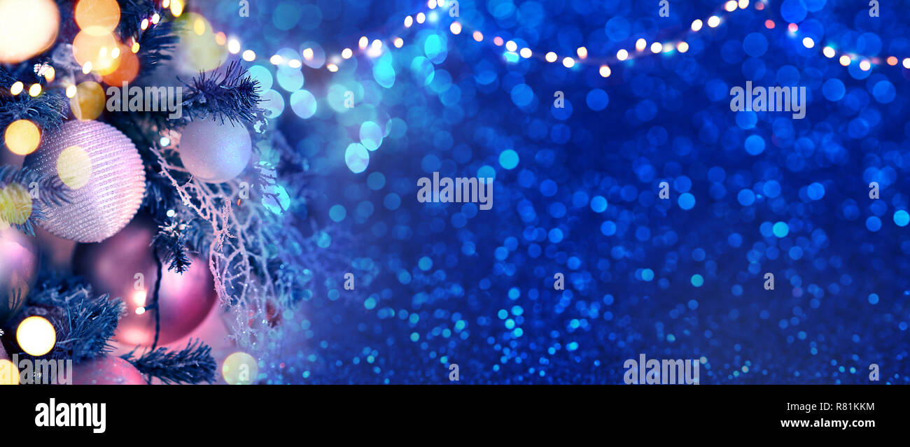 christmas tree branches with blue baubles high resolution stock photography and images alamy alamy