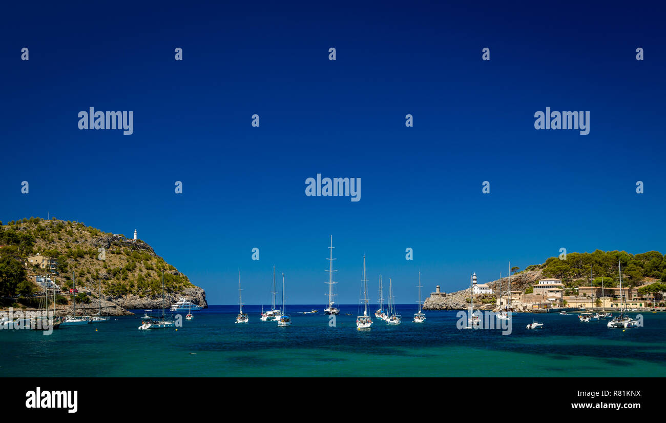 Port De Soller Mallorca Spain with blue sky and yachts - Stock Image