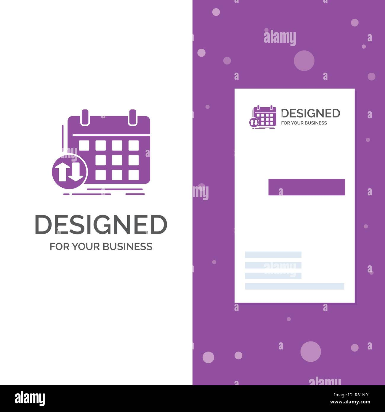 Business Logo For Schedule Classes Timetable Appointment Event Vertical Purple Visiting Card Template Creative Background Vector Illu