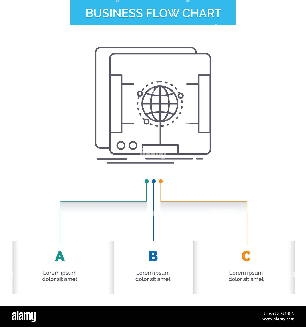 3d, dimensional, holographic, scan, scanner Business Flow Chart Design with 3 Steps. Line Icon For Presentation Background Template Place for text - Stock Vector