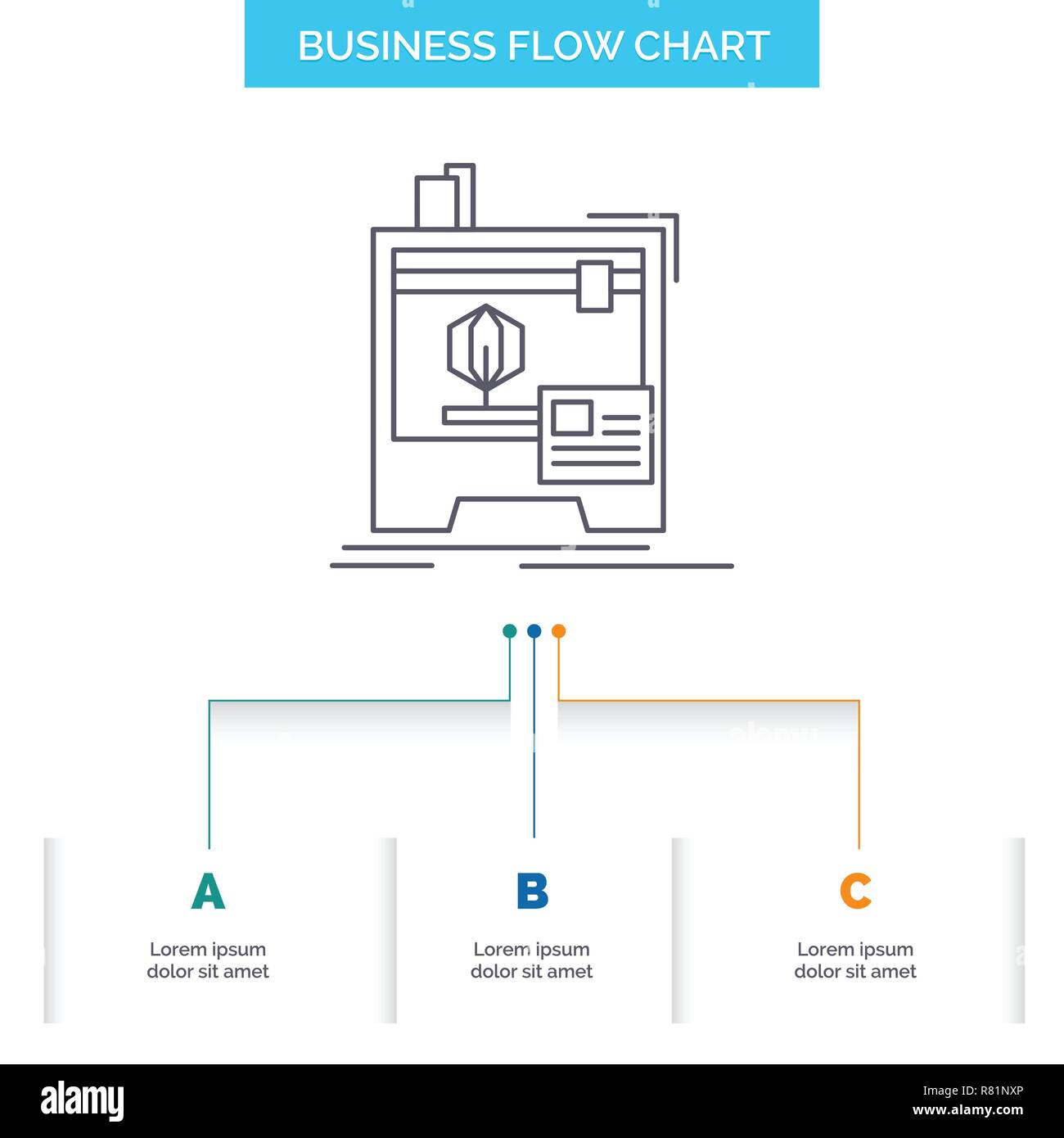 3d, dimensional, machine, printer, printing Business Flow Chart Design with 3 Steps. Line Icon For Presentation Background Template Place for text - Stock Vector