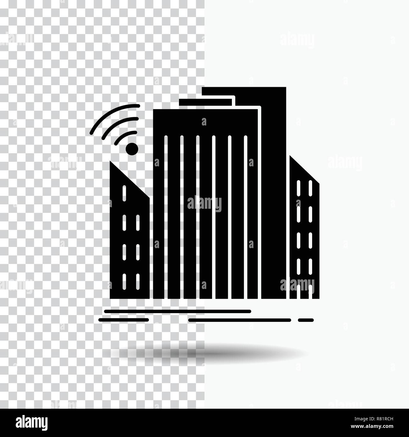 Buildings, city, sensor, smart, urban Glyph Icon on Transparent Background. Black Icon - Stock Vector