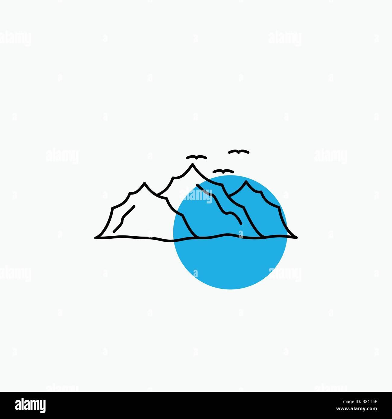 mountain, landscape, hill, nature, birds Line Icon - Stock Image