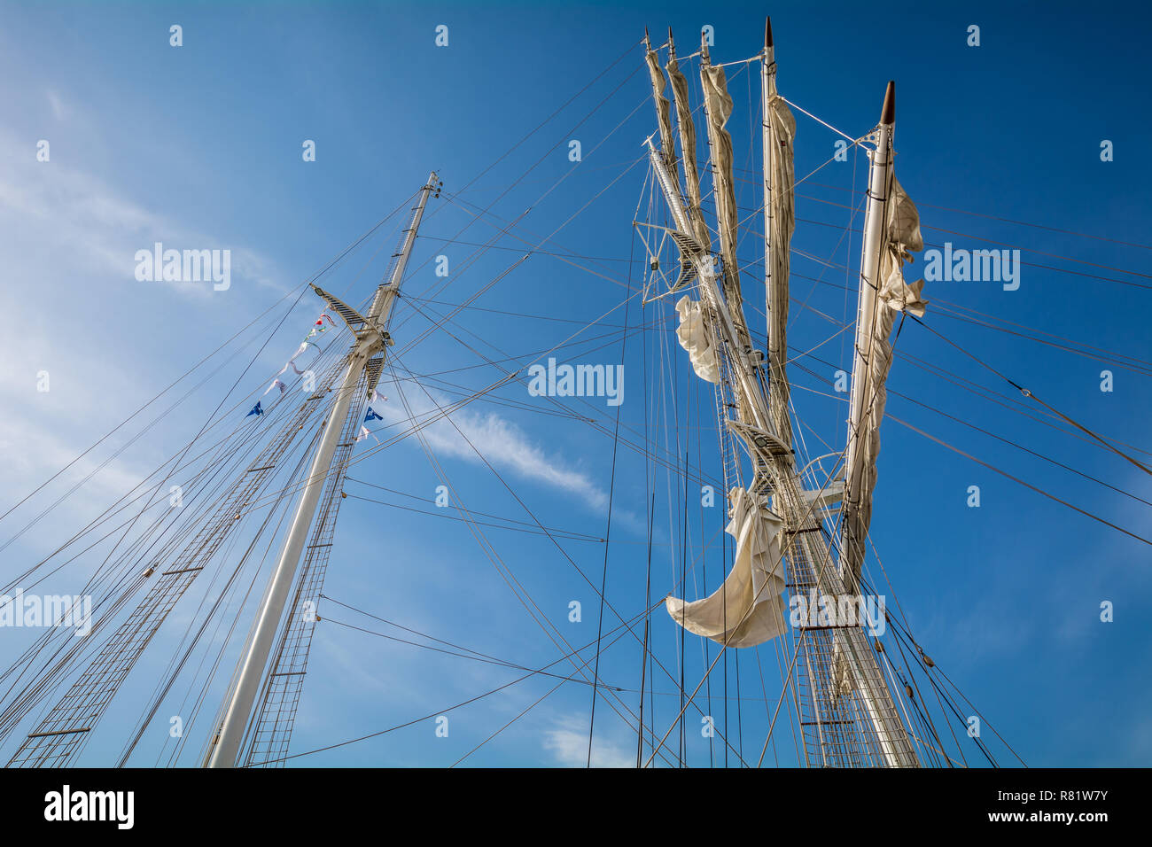 Bottom View of the mast main of Nave ITALIA, which at 61 meters is the largest brigantine in the world, in the porto of Livorno, Tuscany, Italy - Stock Image