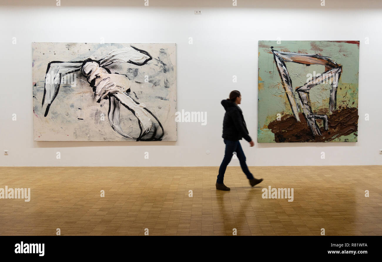 Untitled paintings by Dieter Krieg at Light Box modern art museum at Bomann Museum in Celle, lower Saxony, Germany - Stock Image