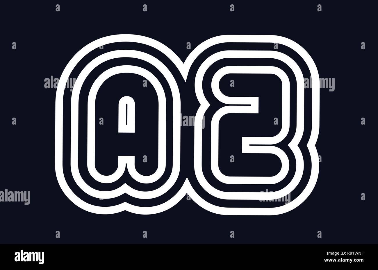 black and white alphabet letter az a z logo combination design