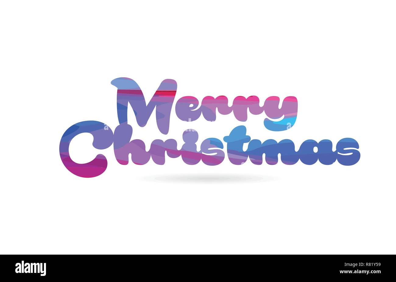 Merry Christmas Word With Pink Blue Color Suitable For Card