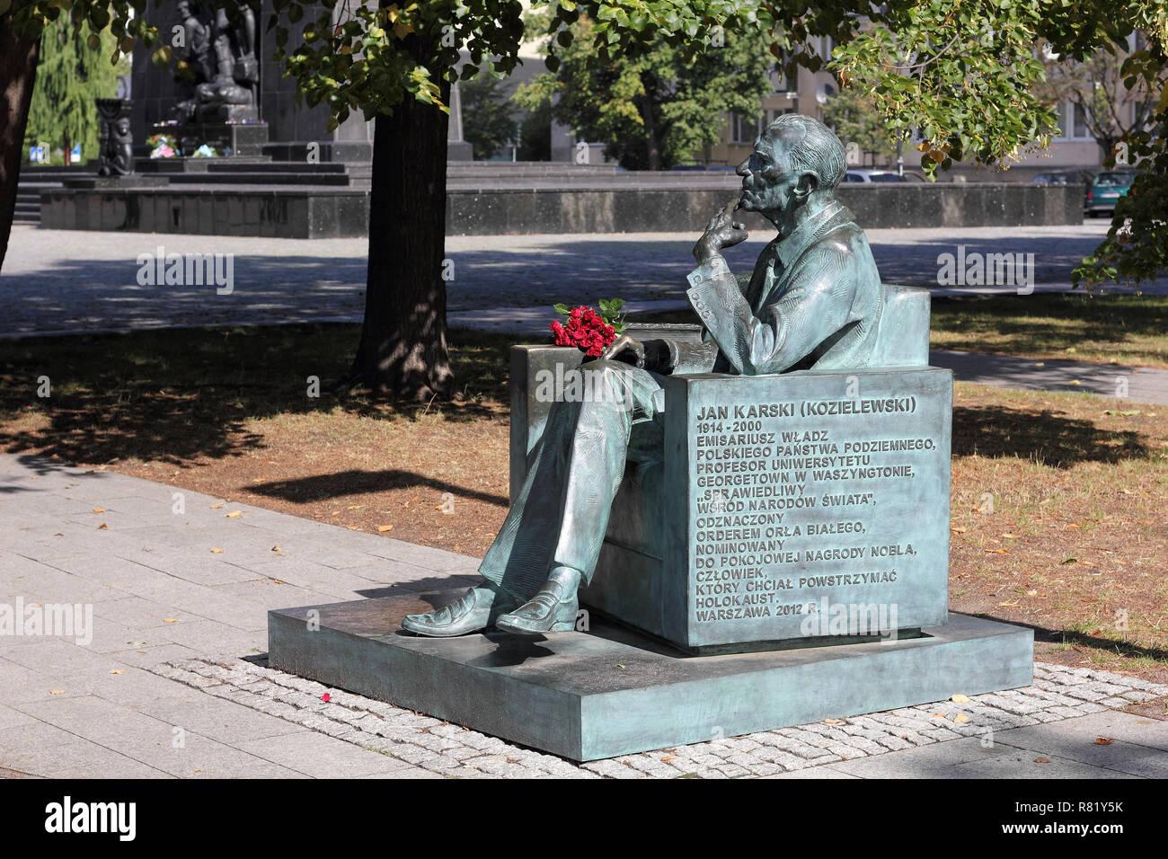 Monument to the Polish AK officer Jan Karski in Warsaw Stock Photo