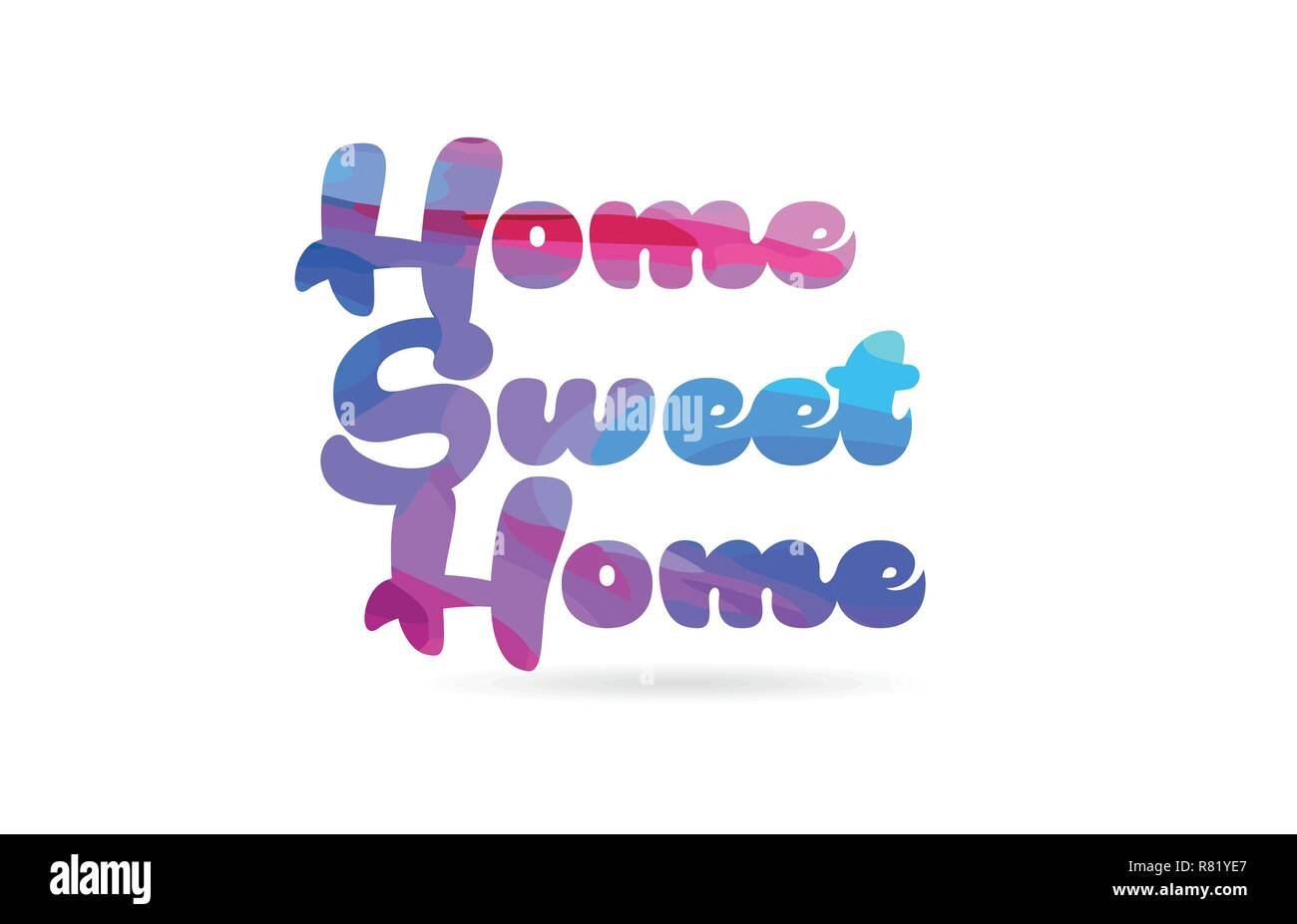 home sweet home word with pink blue color suitable for card icon or typography logo design - Stock Vector