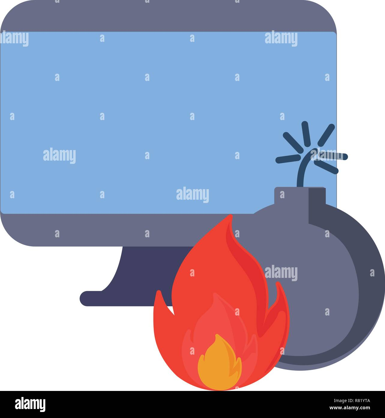 computer fire problem on white background vector illustration - Stock Vector