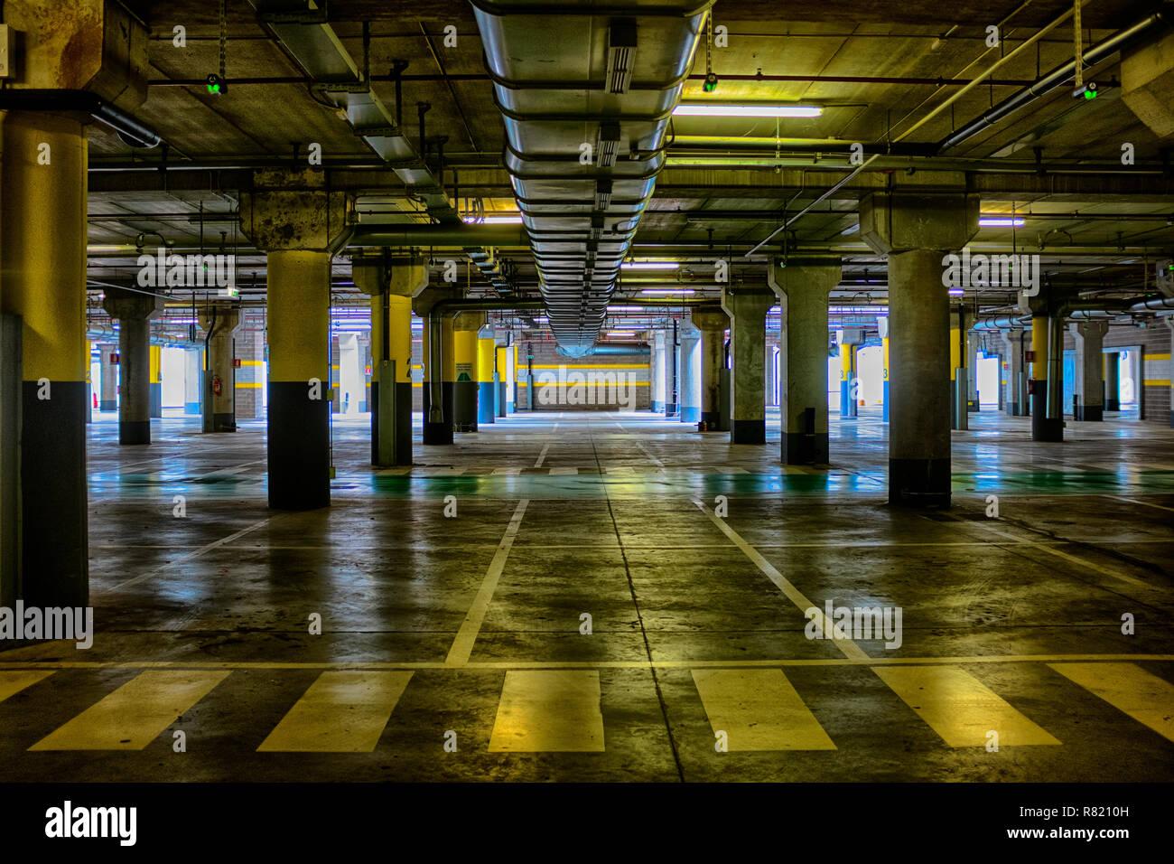 Empty parking garage - Stock Image