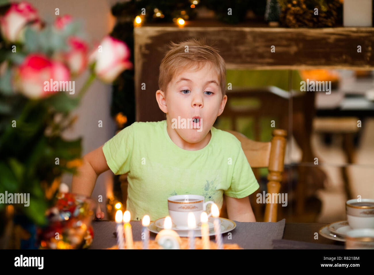 Beautiful Adorable Six Year Old Boy In Green Shirt Celebrating His Birthday Blowing Candles On Homemade Baked Cake Indoor