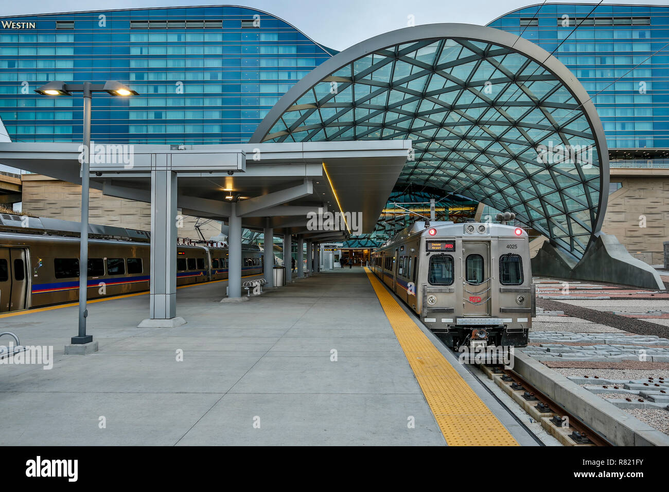 Denver International Airport Train Station and Westin Denver International Hotel,  Denver International Airport (DIA), Denver, Colorado USA - Stock Image